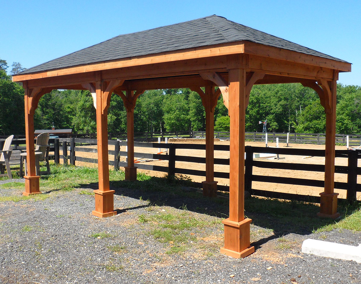 Red Cedar Single Roof Open Rectangle Gazebos With Arched