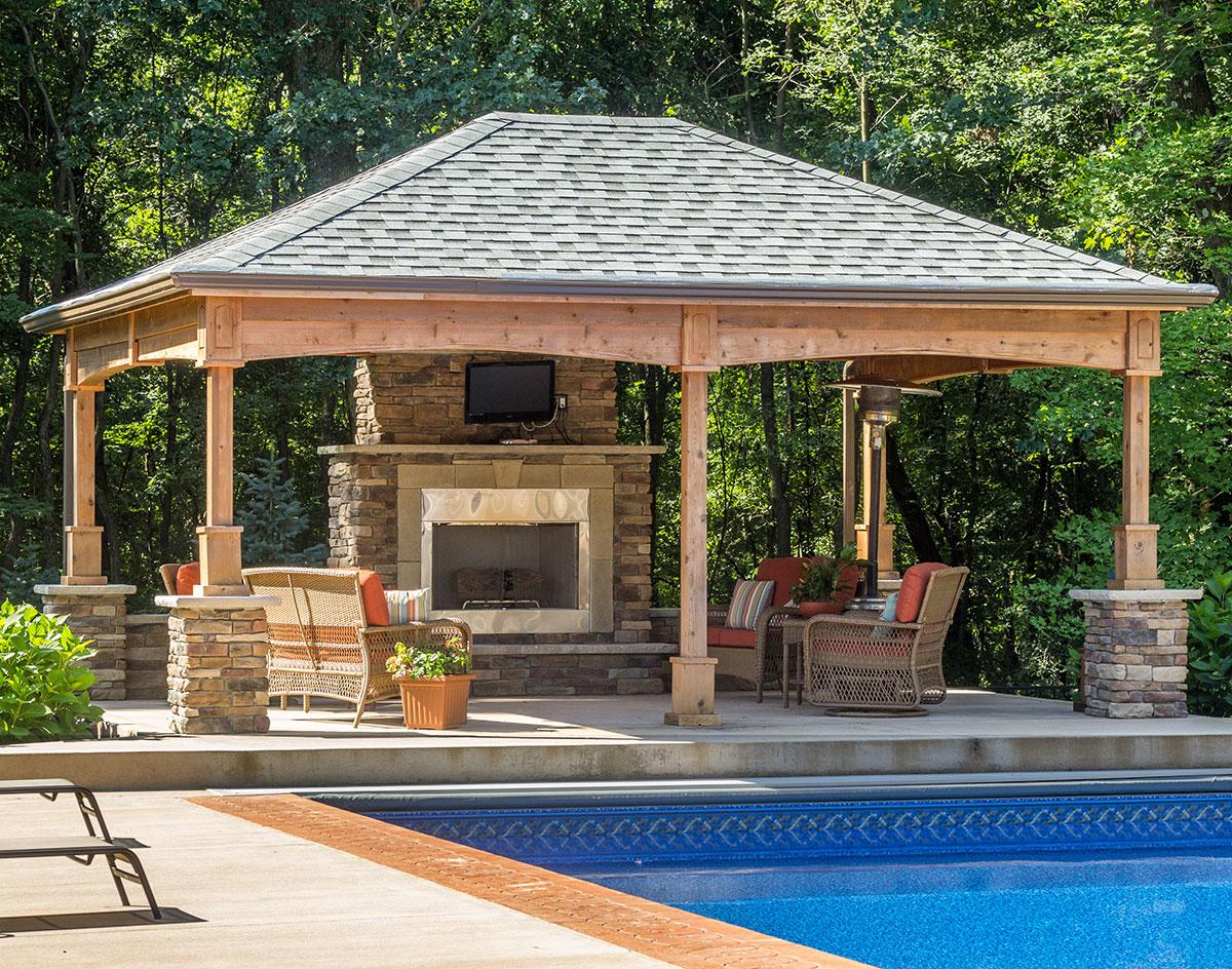 Red cedar gable roof open rectangle pavilions pavilions for Cedar pavilion plans