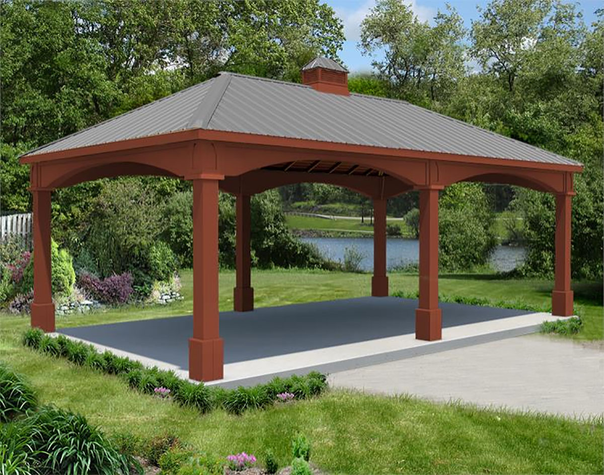 red cedar single roof open rectangle gazebos with metal