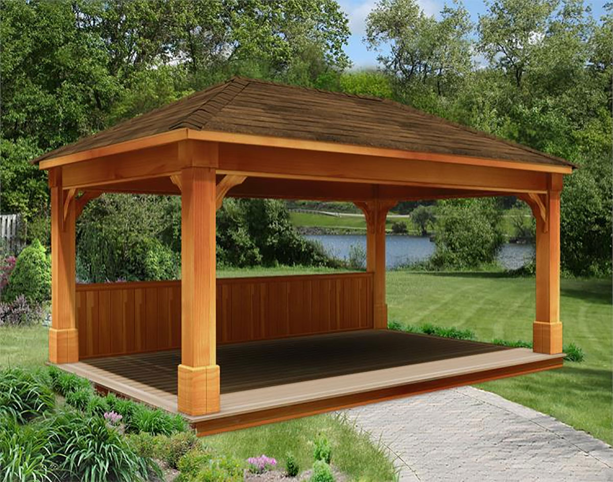 Rough Cut Cedar Double Roof Open Rectangle Gazebos