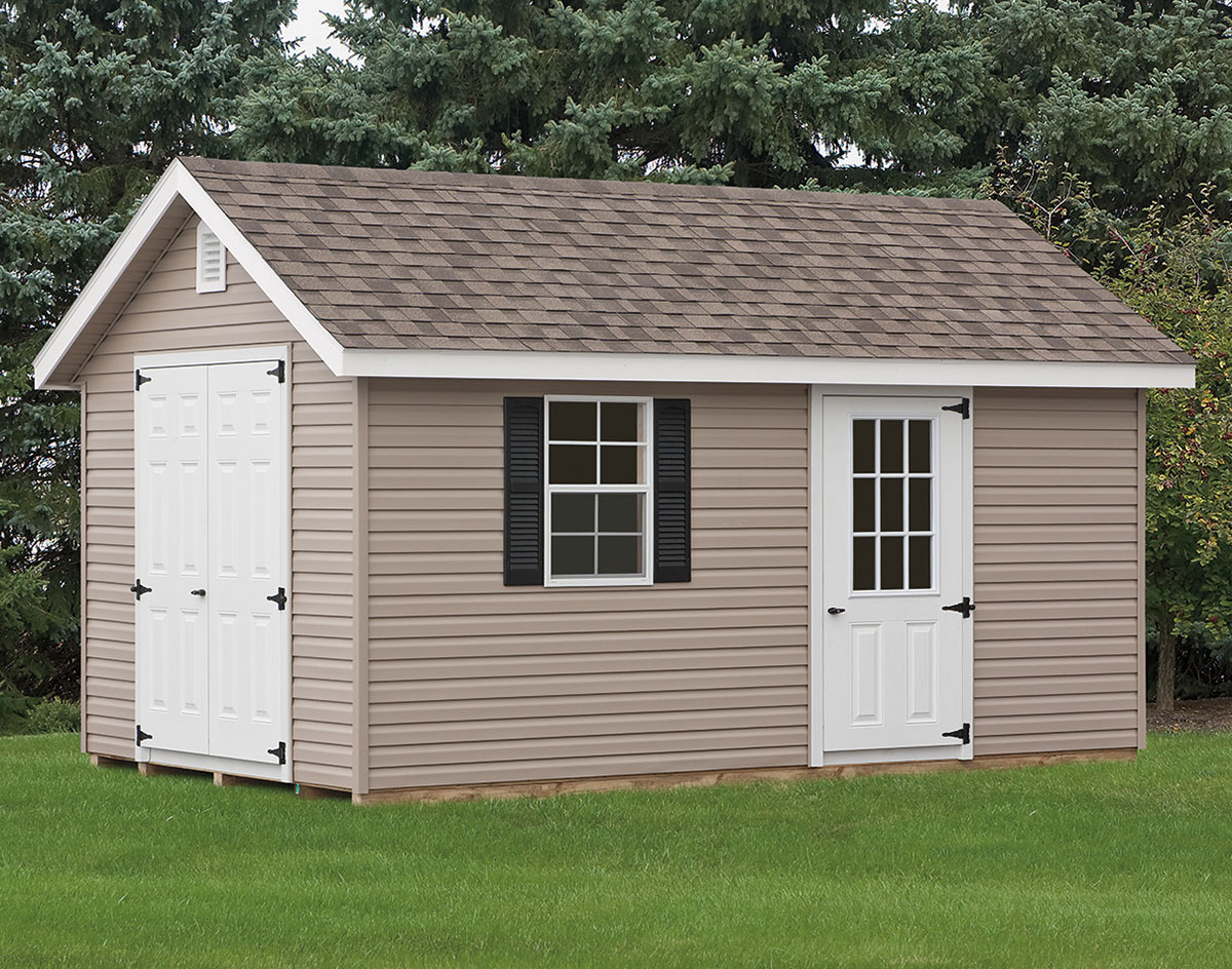 Vinyl siding deluxe estate sheds sheds by siding for Vinyl storage sheds