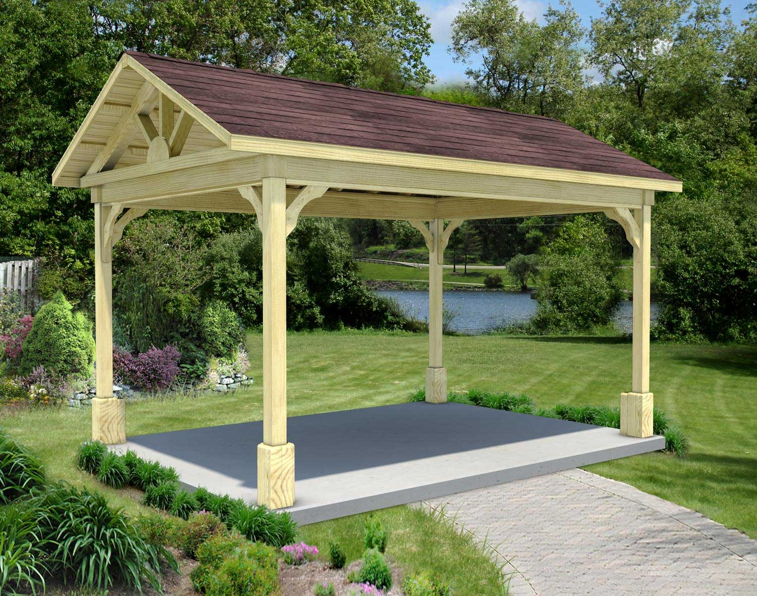 Treated Pine Gable Roof Open Rectangle Gazebos With 16