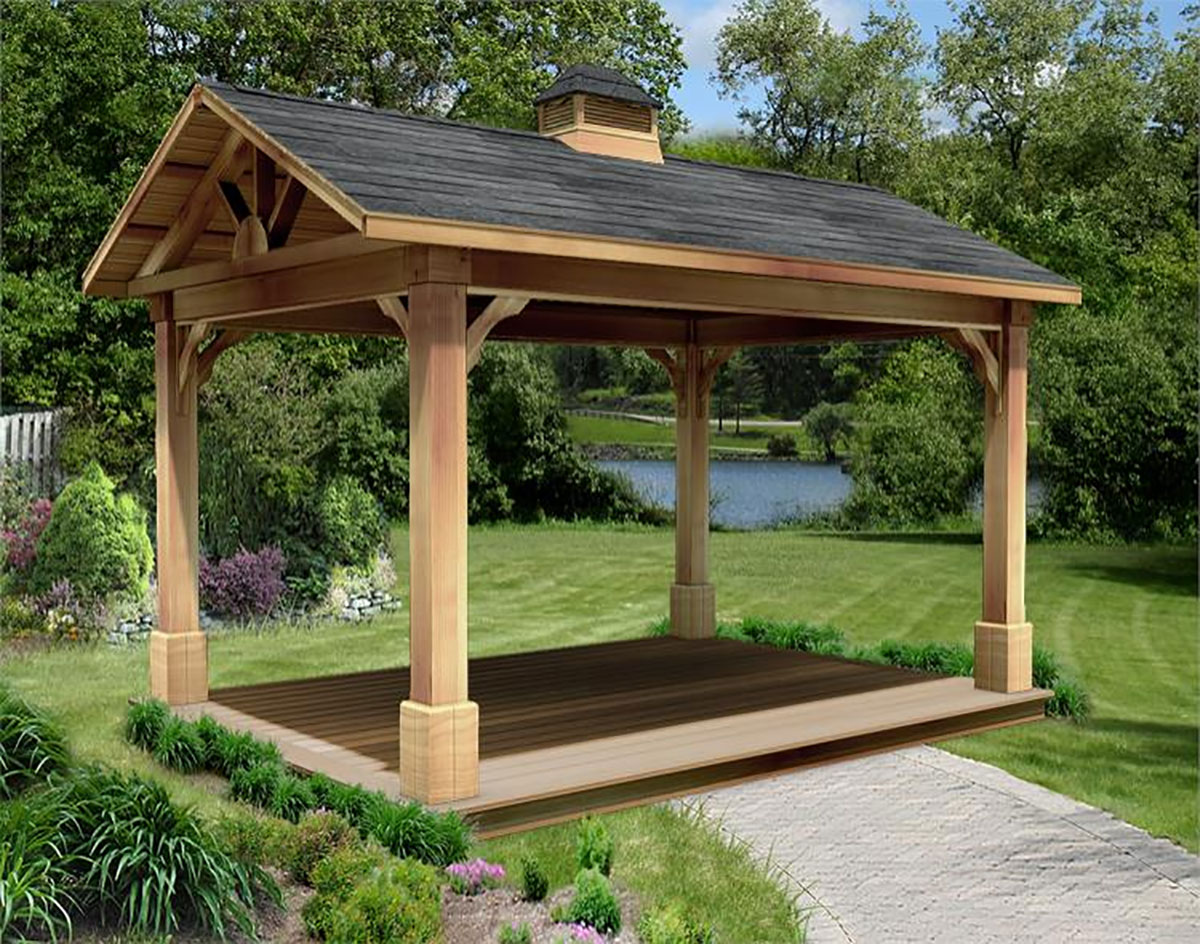Four Post Bedroom Set Red Cedar Gable Roof Open Rectangle Gazebos With 6 12 Roof
