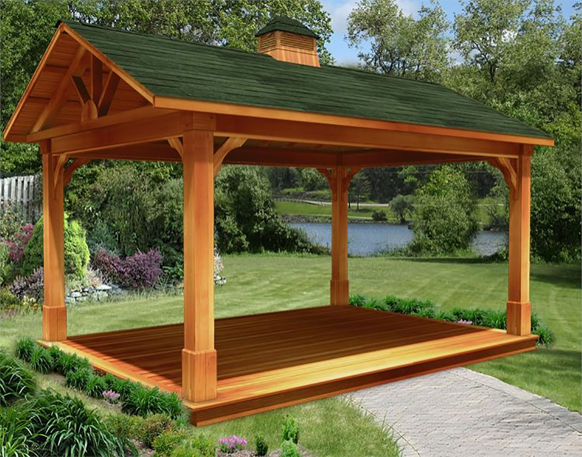Red Cedar Gable Roof Open Rectangle Gazebos With Treated