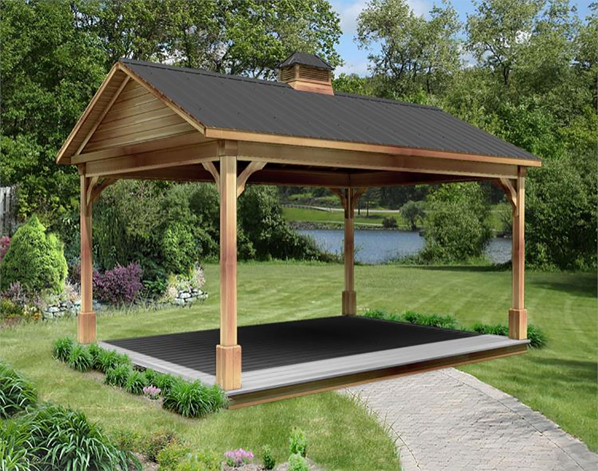 Red cedar gable roof open rectangle gazebos with treated Gazebo roof pitch