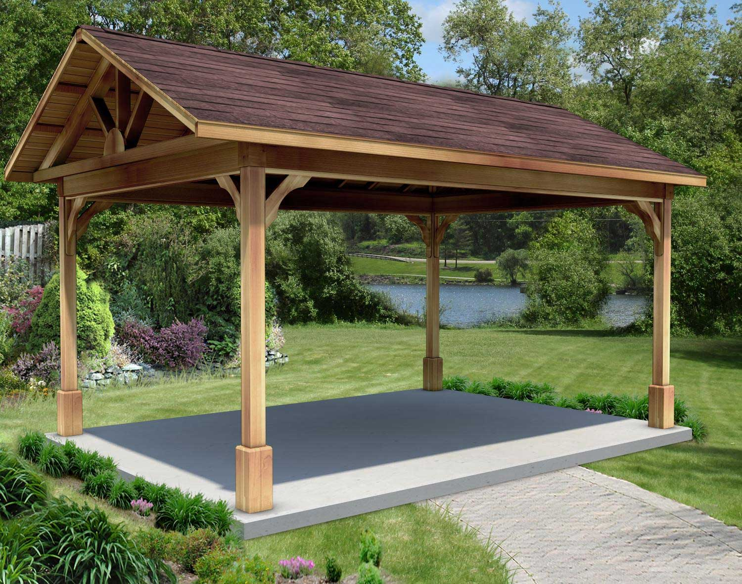 Red Cedar Gable Roof Open Rectangle Gazebos With Metal