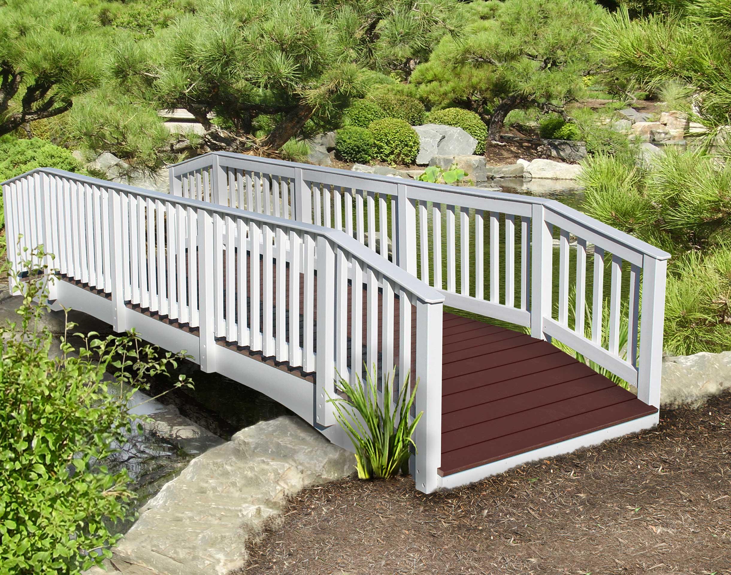 Straight spindle rail pedestrian bridges bridges by for Garden decking spindles