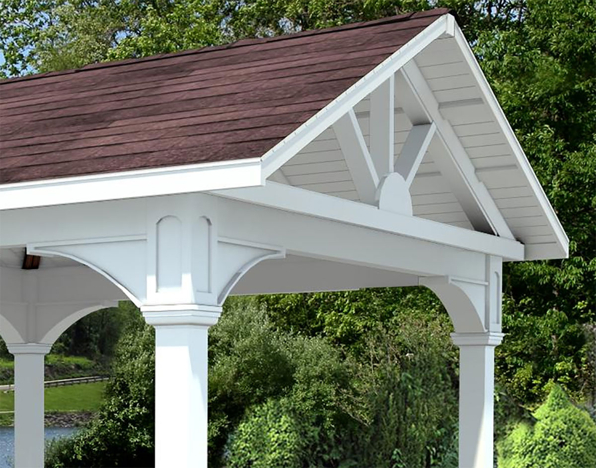 Vinyl gable roof open rectangle gazebos gazebos by for Gable designs