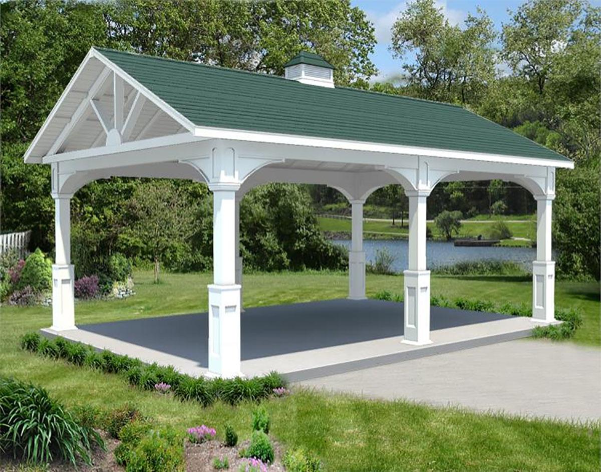 Vinyl gable roof ramadas ramadas by material for Pavilion blueprints